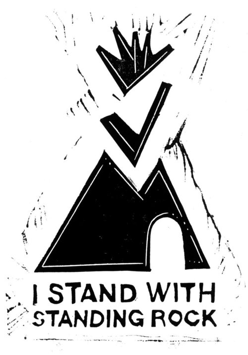 Poster supporting Standing Rock against pipelines